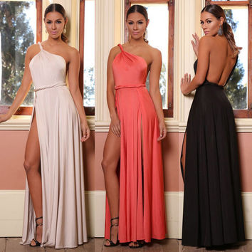 VIP New Ladies One Shoulder Maxi Dress Floor_Length Split Prom Dress Petite Beach Wedding Party Dresses Summer Cocktail Dress HZ029