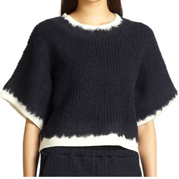 3.1 Phillip Lim Navy Felt Tape Pullover W/Needle Punching