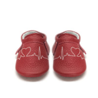 Valentine day heart EKG Genuine Leather Baby Moccasins Shoes white and red