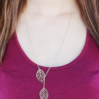 Leaf Lariat, Leaf Necklace Gold or Silver Tone Double Leaf Lariat Simple Minimal Casual Everyday Necklace