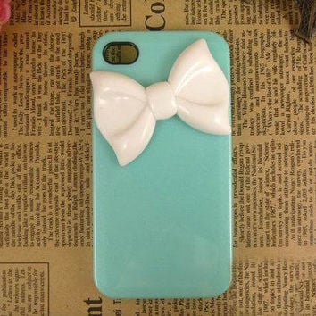Handmade Cute iPhone Case White Bowknot on Green by cellcaseworks
