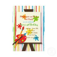 Art Crafts Painting Birthday Party Invitations from Zazzle.com