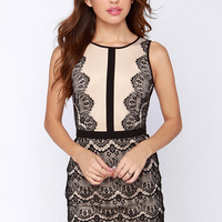 Act the Part Beige and Black Bodycon Lace Dress