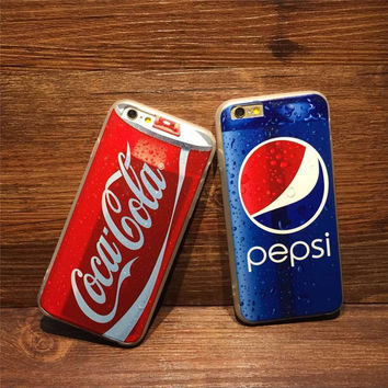 2016 New Luxury Coke Pepsi Case For iPhone 5 5s 6 6S plus case Drink Beer Bottles Cartoon Anti-knock Phone Cases Cover