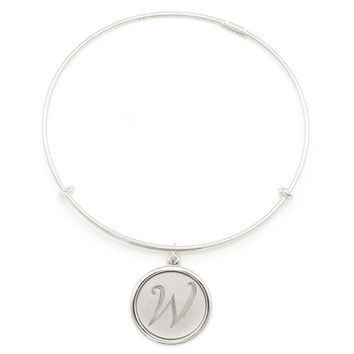 Alex and Ani Precious Initial W Charm Bangle - Argentium Silver