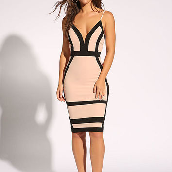 Blush Plunge Color Block Bodycon Dress