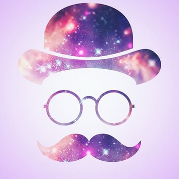 'Retro Face with Moustache & Glasses / Universe ' by badbugs