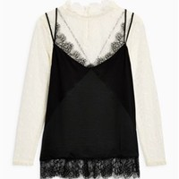 Buy Black/Cream Lace Layer Top from the Next UK online shop