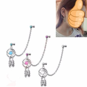 Showlove1pcs different Color Dream Catcher Dangling Chain Earrings Ear Ear Helix Tragus Cartilage Studs Piercing Barbell Jewelry