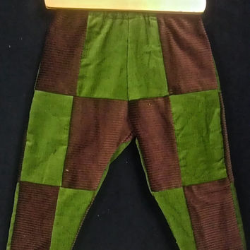 Handmade Corduroy Patchwork Baby Pants 12 - 18 months Woodland Color Scheme
