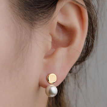 White Pearl Ear Jacket, Sterling Silver Gold Plated, Drop Earrings, Shell Pearl Jacket Earrings, Edgy Jewelry, Wedding Gift, Lunai, EJK004W