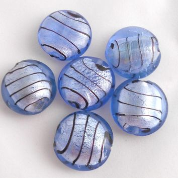 Four 24mm silvertone foil round pillow blue glass beads with brown stripes, Focal beads