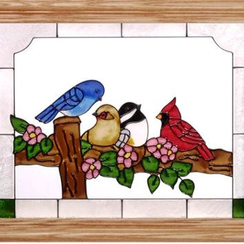 Birds on a Flowery Fence Horizontal Stained Art Glass Panel