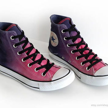 Ombré dip dye Converse All Stars, raspberry pink, purple, ink blue, upcycled vintage sneakers, high tops, 37.5 (UK 5, US wo's 7, US mens 5)