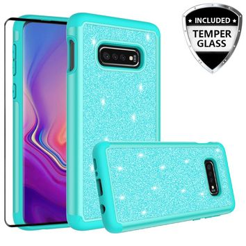Samsung Galaxy S10 Lite Case, Galaxy S10 Lite Glitter Bling Heavy Duty Shock Proof Hybrid Case with [HD Screen Protector] Dual Layer Protective Phone Case Cover for Samsung Galaxy S10 Lite W/Temper Glass - Teal