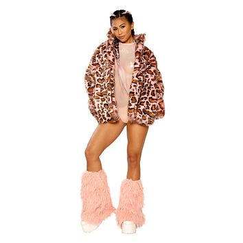 Hip length faux fur coat
