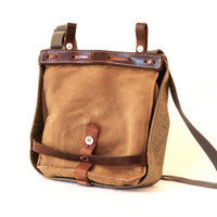 SWISS ARMY 1961 Bread Bag, Crossover Messenger Bag, Haversack, Pannier, Military Salt and Pepper Canvas Bag, Fishing, Made in Switzerland