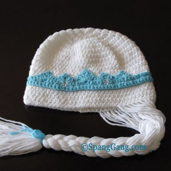Elsa Princess Frozen Hat, crochet. FREE SHIPPING! Snow Queen beanie with braid. Winter hat. Disney inspired.