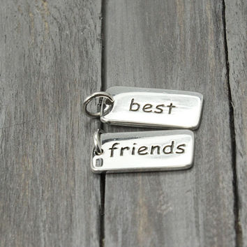 Best Friends Charm, Sterling Silver Best Friends , Silver BFF Charm, Sterling Charms, Sterling Silver Charms, Necklace Charms