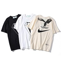 OFF-WHITE x Nike NRG A6 Tide brand men and women eagle print large logo shirt T-shirt