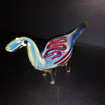 Cute & Friendly Glass Dinosaur Smoking Pipe - Color Changing, Fumed
