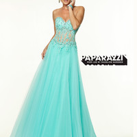 Sweetheart Sheer And Lace Flowing A-line Paparazzi Prom Dress By Mori Lee 97047