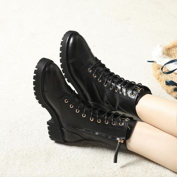 GZ Giuseppe Zanotti Trending Women Black Leather Side Zip Lace-up Ankle Boots Shoes Best Quality