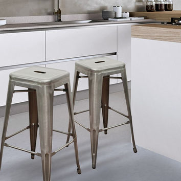 Gunmetal Silver 30 inch Metal Tolix Style Industrial Chic Chair Counter Stool Barstool (Set of 2)