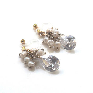 Bridal Freshwater Pearl with Cubic Zirconia Clip on Earrings, Dangle Wedding CZ Chandelier Invisible Clip on Earrings, Non Pierced Earrings