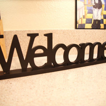 Wooden WELCOME Sign - Black