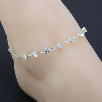 Silver Ankle Bracelet Women Anklet Adjustable Chain Foot Beach Jewelry