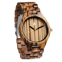 All Wood Watch // All Zebrawood 47 Gold