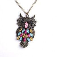 Attractive Copper Plated Metal Necklace&retro Owl Colorful Rhinestone Pendant P0971