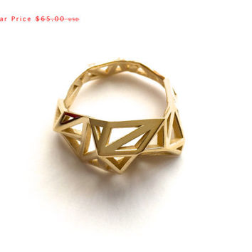SALE statement brass ring gift, geometric - Slim Triangulated Ring in Polished Brass. 3d printed, architectural jewelry, modern