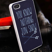 You Know Nothing Jon Snow Game Of Thrones customized for iphone 4/4s/5/5s/5c, samsung galaxy s3/s4/s5 and ipod 4/5 case