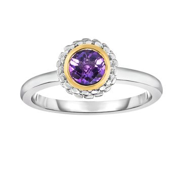 18k Gold And Sterling Silver Amethyst Fancy Ring