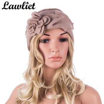Lawliet Wool Hat Women Winter Hats Solid Flower Warm Knitted Ladies Beanies Skullies Bonnet Femme Bucket Cloche Winter Cap 2017