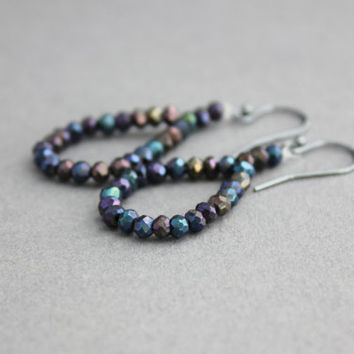black spinel earrings bead woven earrings oxidized sterling silver dangle earrings midnight blue purple