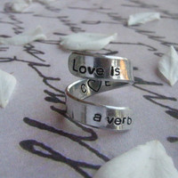Love is a verb, Long distance relationship, Deployment, BFF ring, Love ring, Anniversary gift, Boyfriend gift, Sister rings, BFF, John Mayer