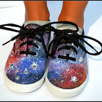 Galaxy Shoes/ Galaxy Sneakers,  Dr. Who Sneakers for Women & Children, Hand Painted Sneakers, Sneakers, Crystal Bedazzled Rhinestone Sneaker