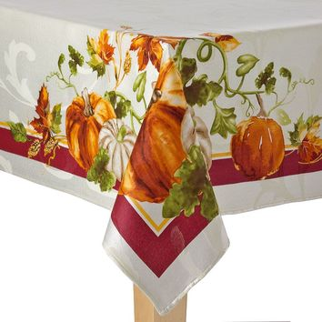 Harvest Pumpkin Tablecloth - 60'' x 84'' Oval