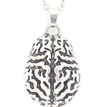 Human Brain Necklace Vintage Silver Tone Cranium Pendant NQ22 Fashion Jewelry