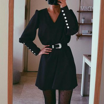 8DESS Long sleeve short shirt dress women Buttons office ladies plus size dresses