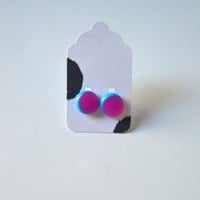 Stud Earrings - Neon Pink and Light Blue Stud Earrings - Tiny Stud Earrings - Post Earrings - Colorful Earrings - Handmade Enamel Studs