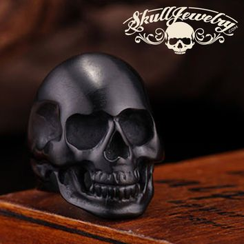 Back in Black Stainless Steel Skull Ring - Matte Black Skull Ring (BNB)