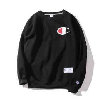 Autumn and Winter Champion embroidery small lovers sweater plus velvet thickening Black