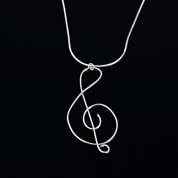 Silver Treble Cleft Necklace, Music Note Necklace