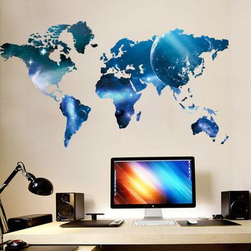 ONETOW Bedroom World Map Wall Sticker [9576040015]