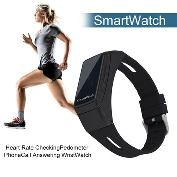 B7 Smartwatch Heart Rate Checking Pedometer Hand Free Phone Call Answering WristWatch For Android For IOS