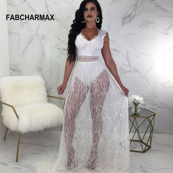 black white lace maxi dress backless hollow out long dresses